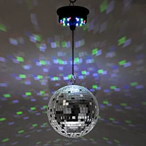 Novelty Rotating Motorised Battery Operated Multi Coloured Disco Mirror Ball Ceiling Light