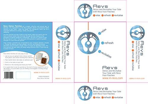 Revs - 10 x Detox Foot Pads Fußpflaster Vital pflaster Entgiften Vitalpflaster *Detox-Pflaster zieht die Toxine *