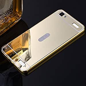 Droit Luxury Metal Bumper + Acrylic Mirror Back Cover Case For VivoY37 Gold + Flexible Portable Thumb OK Stand by Droit Store.