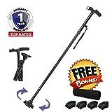 [Stand Alone] Himal 6*LED Light Walking Stick Sponge Handle Adjustable Folding Cane Walking Stick With Carrying Case (Black)
