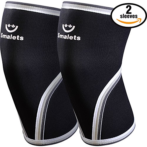 Knee Sleeves Only For Men By Smalets - 7 mm Neoprene Compression Support For Weightlifting & Powerlifting, Crossfit & Squats - Knee Brace For the Best Running - 15 Months Warranty, Black, L (Hinged L Bracket compare prices)