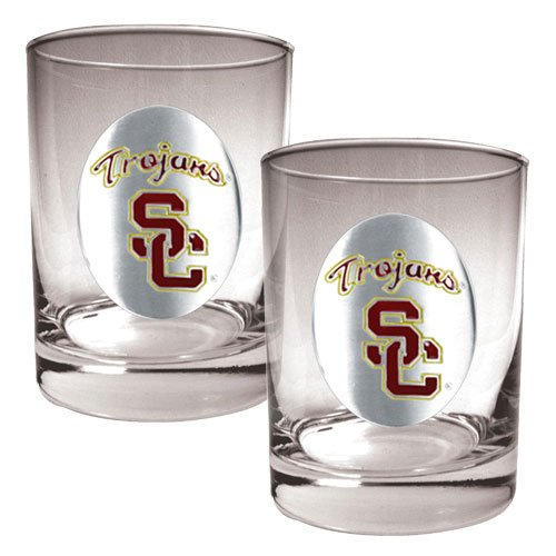 NCAA USC Trojans Two Piece Rocks Glass Set