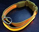 LED PET Glow Collar Dog Cat Night Safety Lead Adjustable Harness Flash Light up (Small, Yellow)
