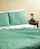 Maine Street Living 2-Piece Cotton Rich Quilted Coverlet, Twin, Green
