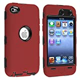 Deluxe Red 3-part Hard/Skin Case Cover For Ipod Touch 4 4G 4th Gen