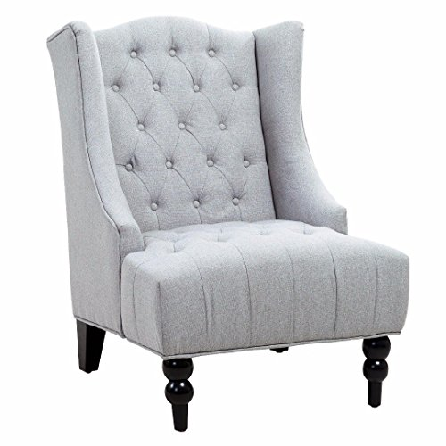 Classic High Back Button Tufted Light Gray Linen Upholstered Accent Club Wingback Chair with Espresso Wood Legs Includes ModHaus Living (TM) Pen (Traditional Wingback Side Chair compare prices)