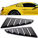 Window Louver Fit For 2015-2018 Ford Mustang | OE Style Unpainted Black PP Side Louver Cover by IKON MOTORSPORTS | 2016 2017