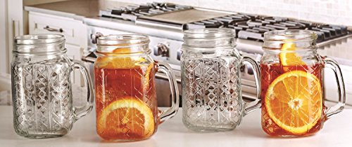 Set of 8 Circleware 17 Oz Glass Embossed Bracelet Geometric Design Mason Jar Mug Drinking Glasses (8) (Mug Jar Glass compare prices)