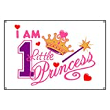 Banner I Am One Little Princess with Crown Wand and Hearts