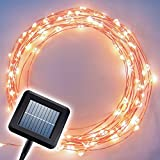 The Original Starry Solar String Lights by Brightech - Warm White LED's on a Flexible Copper Wire - 20ft LED Light String Set with Solar Panel - Your Easy Way to Create
