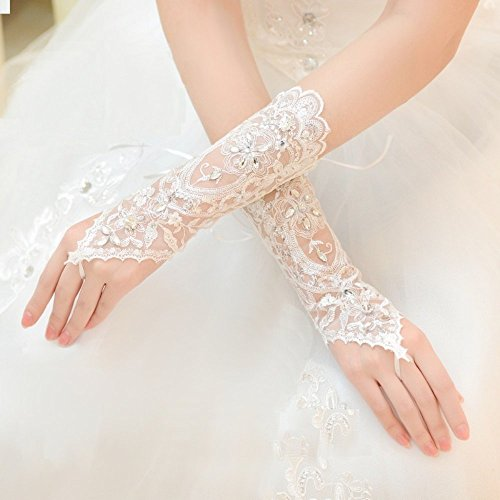 Exquisite Fingerless Rhinestone & Sequins Bridal Lace Gloves (Ivory)