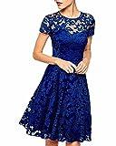 ZANZEA レディース レース フォーマル 半袖 ひざ丈 披露宴 パーティー 結婚式 ワンピース ドレス ブルー 2XL