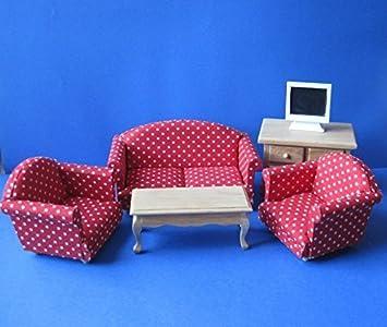 Dolls House canapé du salon rouge 5383, Fauteuil anglais 6 pièces 1:12 Maison de poupée