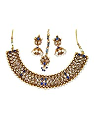 Shingar Jewellery Antique Gold Plated Polki Kundan Look Blue Colour Necklace Set For Women