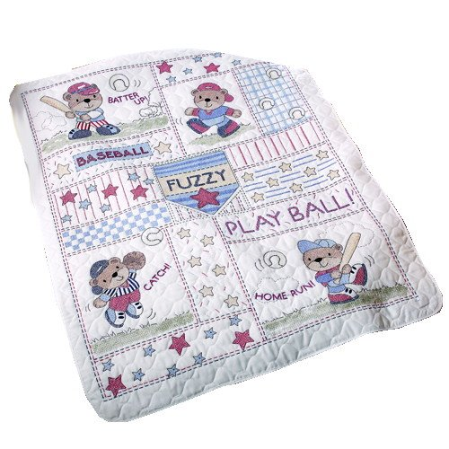 Discover Bargain Bucilla Baseball Buddies Crib Cover 34-Inch-by-43-Inch Stamped Cross Stitch Kit
