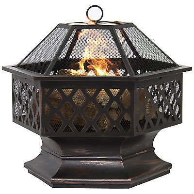 BCP Hex Shaped Fire Pit Outdoor Home Garden Backyard Firepit Bowl Fireplace (Deep Freezer For Apartment compare prices)