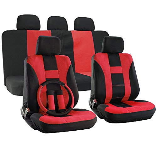 OxGord 17pc Set Flat Cloth Mesh Red & Black H Stripe Seat Covers Set - Airbag Compatible - Front Low Back Buckets - 50/50 or 60/40 Rear Split Bench - 5 Head Rests - Universal Fit for Car, Truck, Suv, or Van - FREE Steering Wheel Cover