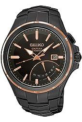 Seiko SRN066 Men's Black Rubber Strap Band Black Dial Watch