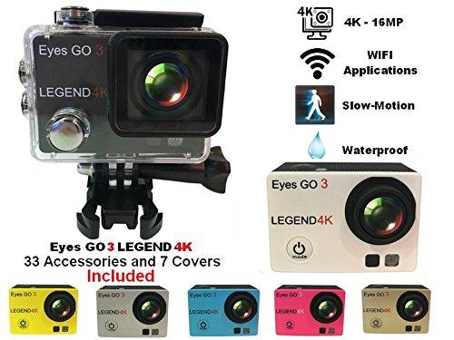Eyes GO 3 LEGEND 4K - 16MP - + 33 accessoires inclus dont 7 coques de couleur livrées - Marque française - Ultra haute définition 2160p - Camera sport - Boîtier étanche 30 mètres - Écran LCD 2 pouces - WIFI - Applications ANDROID - APP STORE