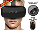 Procus ONE Virtual Reality Headset - 42MM Lenses- Fully Adjustable VR Glasses - VR Headset For VR Video Gaming, Movies, Pictures - Compatible With All 3.5'-6' Android Phones, iPhones, Samsung Galaxy. Inspired by Google Cardboard, Oculus Rift