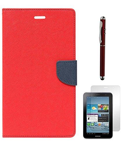 Dmg DMG Mercury Goosperry Premium Wallet Cover Case For Samsung Galaxy Tab 2 P3100 (Red) + Laser Torch Stylus Pen + Matte Screen (Silver)