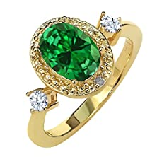 buy 2.21 Ct Green Simulated Emerald White Created Sapphire 18K Yellow Gold Plated Sterling Silver Diamond Accent Ring
