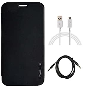 Royal Rusi Flip cover for Huawei Honor 7 With USB Data Cable & Aux Cable - Black