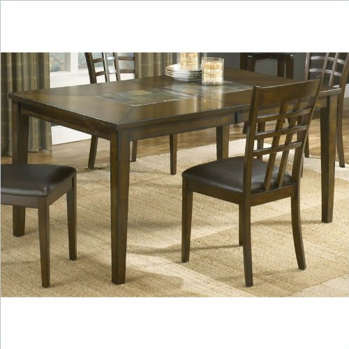 Hillsdale Coronado Extension Wood and Slate Top Dining Table in Cherry Finish
