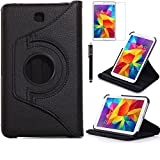 Tab 4 7.0 Case, AiSMei Rotating Case For Samsung Galaxy Tab 4 7.0 SM-T230,SM-T231, SM-T230NU Tablet PC,7-Inch PU Leather Case [Bonus Stylus+Screen Protector] - Black (Color: Black, Tamaño: 7 Inch)