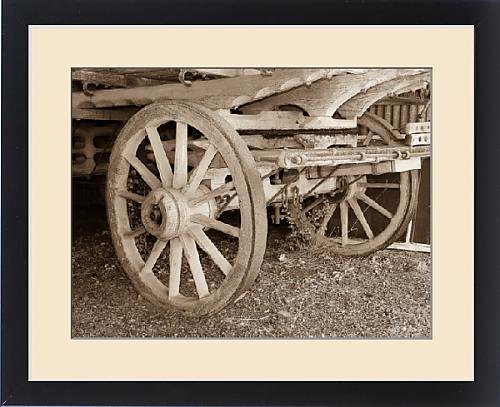 framed-print-of-old-waggon-wheels-in-sepia