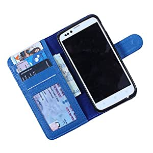 Dooda Genuine Leather Wallet Flip Case For Videocon A27i (BLUE)