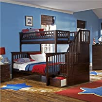 Big Sale Atlantic Furniture Columbia Wood Staircase Bunk Bed -