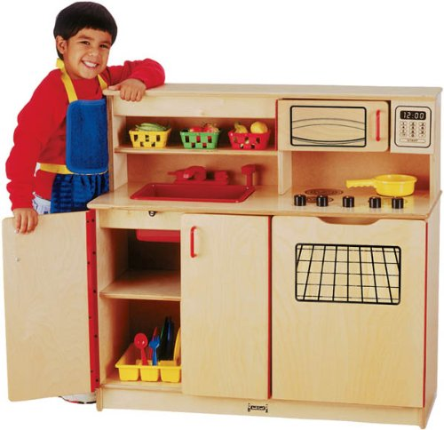 Preschool Kids Pretend Play Room Wood 4-In-1 Toy Cooking Kitchen Activity Center
