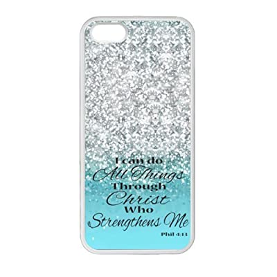 iPhone 5 5S Case Cover - I Can Do All Things Through Christ Who Strengthens Me Philippians 4:13 - Bible Verse Sparkles Glitter Pattern iPhone 5 5S TPU(Laser Technology) Durable Back Case Shell - For iPhone 5 5S by Bible Verse Phone Case