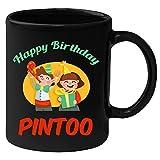 Huppme Happy Birthday Pintoo Black Ceramic Mug (350 ml)