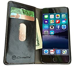 CaseMe iPhone 6s Case Wallet with Magnetic Closure and Kickstand, Black