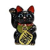 招き猫 8号 黒小判猫(右手) 常滑焼