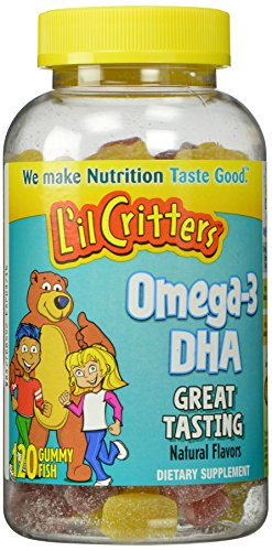 L'il Critters Omega-3 小熊 含DHA 儿童鱼油水果味软糖,120粒*3瓶图片