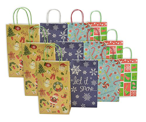 Christmas Large Gift Bags White Kraft, 12 Pack