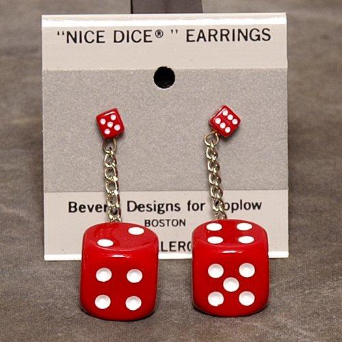 5mm to 16mm Dice Dangler Earrings, Red w/ White