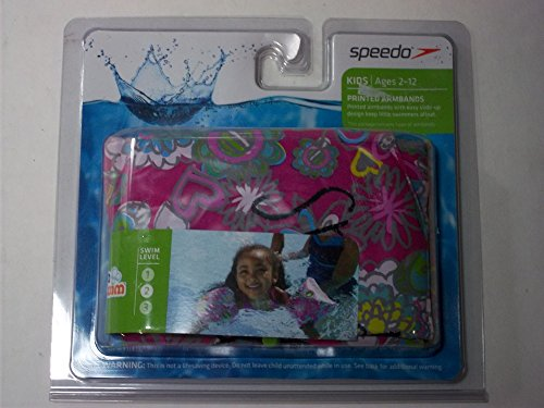 Speedo Kids Ages 2-12 Printed Armbands Pink Hearts & Flowers Swim Level 2