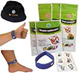 All Natural Mosquito Repellent Bracelet (3 pack) and 12 Stickers-DEET FREE, Essential Oil of Lemon Eucalyptus, Lavender and Lemongrass-Keep Mosquitoes Off and Away