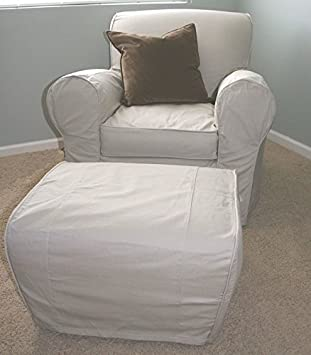 (Ship from USA) POTTERY BARN ~ MANHATTAN ARMCHAIR & OTTOMAN SLIPCOVERS .PACKNO-5R27G2-1C82HY2229
