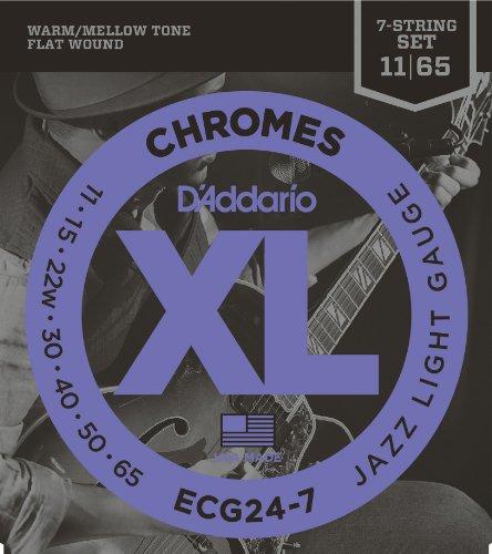 D'Addario Ecg24-7 Chromes Flat Wound 7-String Electric Guitar Strings, Jazz Light, 11-65