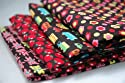 Funky Black Red Pink Kids Childrens Fun Fabric 4 Fat Quarter Fabric Bundle by Lecien - 100% Cotton Teddies Floral Transport Tomatoes Fabric