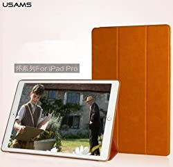 USAMS Wyon Royal PU Leather Smart Flip Cover Case For Apple iPad Pro 12.9 - Brown