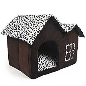 cdq luxury high end cow style soft large pet house indoor coffee brown dog room cat bed double. Black Bedroom Furniture Sets. Home Design Ideas