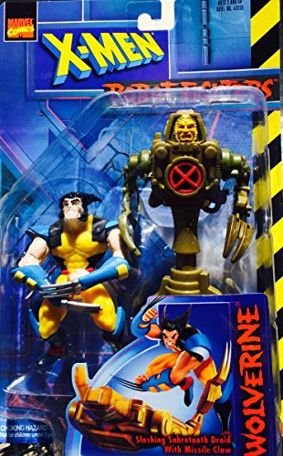 Wolverine Action Figure VS. Slashing Sabretooth Droid with Missile Claw Action Figure - Marvel Comics X-Men Robot Fighters - 1
