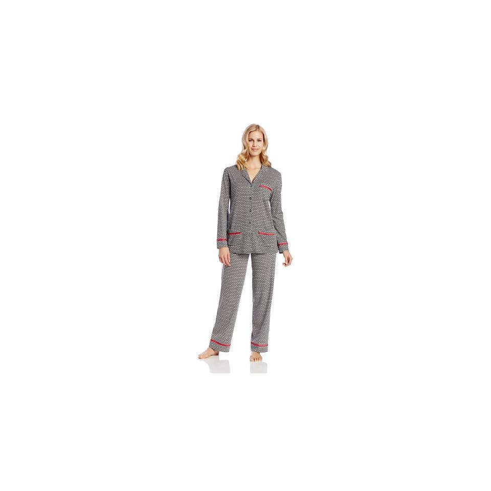 Anne Klein Womens Notch Pajama Set, Black Houndstooth, X Large