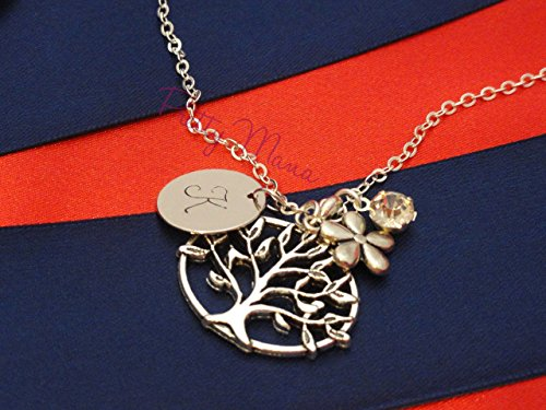 White Gold Filled Tree of life Necklace, Family Tree Necklace, Initial Necklace, Initial Coin, Simple And Dainty Necklace (Alex Ani Display compare prices)